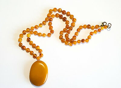 16g NATURAL BALTIC AMBER NECKLACE PENDANT EGG YOLK BUTTERSCOTCH AMBER 老琥珀