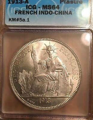 1913-A FRENCH INDO-CHINA SILVER Piastre Dollar MS64 MS BU UNC FLASHY! KM#5a.1