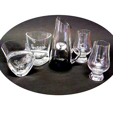 Glenfiddich Scotch Whisky Logo ◆ 2 Tasting +2 Lowball Drinking Glasses ✚ Pitcher