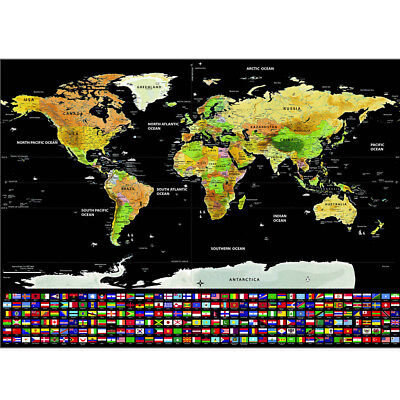 Travel Tracker Big Scratch Off World Map Poster Country Flags Scratch Map G5Y2F