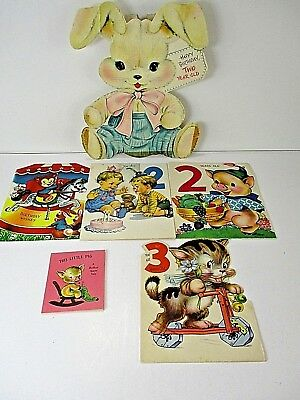 Vintage Childs Birthday Cards Lot of 6 1950's Litho