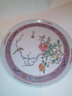 Old Chinese Famille Rose Charger Signed
