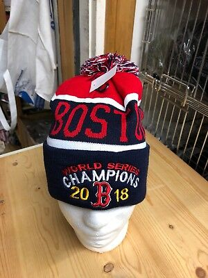 Boston Red Sox World Series Champions Blue Winter Hat Pom Pom blue/red 2018