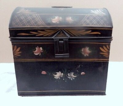 Antique Tole Ware Painted Dome Lid Metal Tin Box