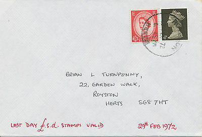 2469 29.2.1972, Wilding 2 1/2 D and Machin 4 D on superb Last Day Cover @@LOOK@@