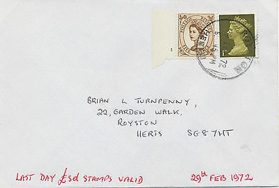 2469 1972 Wilding 5D (w Cyl-Nr. 1) + Machin 1D on superb Last Day Cover (£.s.d.)