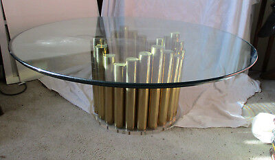 Vintage Mid Century Modern Hollywood Regency Brass Tube Glass Round Coffee Table