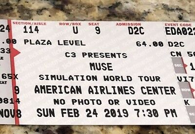 2 Tickets to Muse Concert - Dallas, Texas 2/24/19
