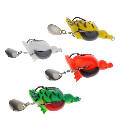 4pcs Topwater Duck Frog Fishing Lure Spoon Sequins Fishing Lures 7cm/2.8inch
