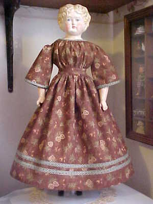 """Antique Repro Brown Pine Cone Print Dress For 20-23"""" China, Parian, Bisque Doll"""