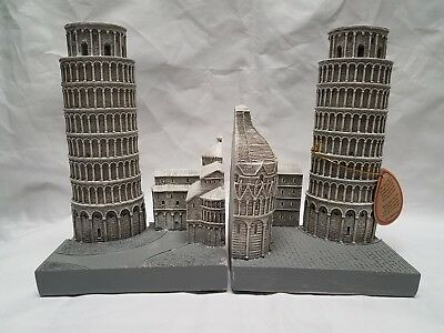 Leaning Tower Of Pisa Bookends 2pc Silver Book Holders Italy Historical Wonders