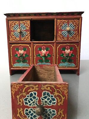 Vintage Indian Furniture. Painted Miniature 6 Drawer Cabinet. Buddhist, Nepal.
