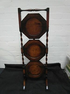 Vintage Old Solid Oak 3 Tier Folding Cake Stand With Barley Twist Decoration