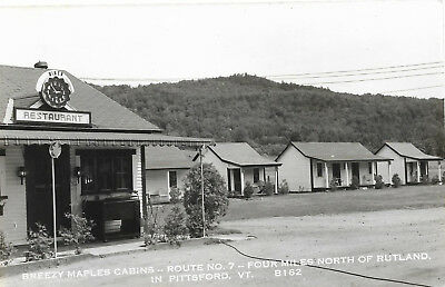 RPPC Kodak, Breezy Maples Cabins, north of Rutland in Pittsford, VT