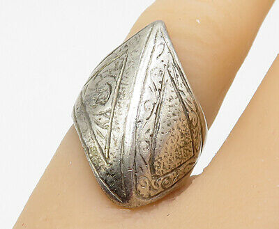 JG SIAM 925 Sterling Silver - Vintage Abstract Retro Designed Ring Sz 5.5- R4755