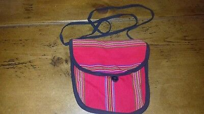 Vintage Multi-Coloured/Red Small Shoulder Bag - Made In Guatemala - Unused