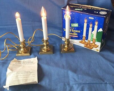 "GE Solid Brass Electric 9"" Candle 3 Pack Xmas Window Decoration CL001SB"