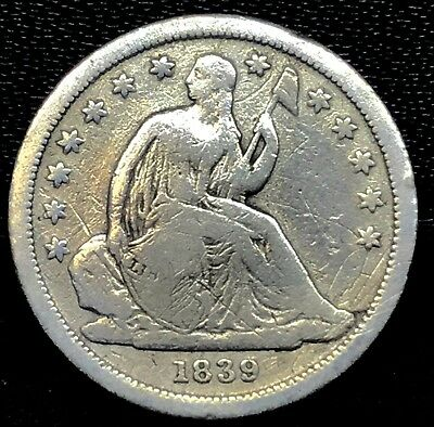 No Reserve: 1839 SEATED LIBERTY DIME IN  GOOD CONDITION. RARE !