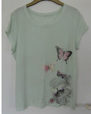 PRE-OWNED GEORGE Ladies mint butterfly top size uk 12-14 euro 40-42