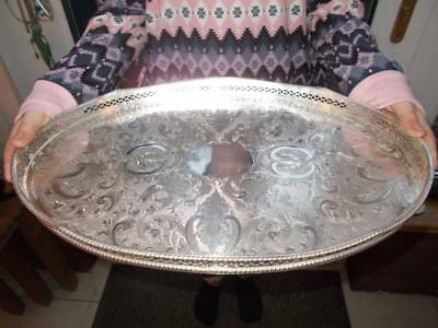 Nice Quality Silver Plated Tray Rise & Fall Wave Effect Gallery On Domed Feet
