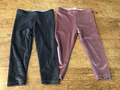2 Pairs Baby Girls Velour Velvet F&F Leggings/ Trousers 9-12 Pink & Grey