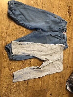 Baby Girls H&M & Mothercare Leggings/ Trousers/ Jeans 9-12 Denim & Grey