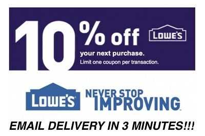 Three (3X) 10% Off Lowes Instant Delivery-3Coupons Instore/online - Exp 01/31/19