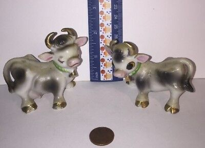 Vintage Pair Of Cows  Salt And Pepper Shakers Made In Japan