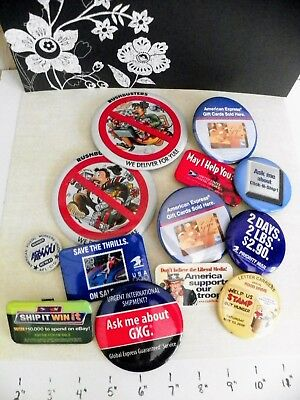 Vintage Lot 12 Pins Buttons Federal Postal AE FOOD DRIVE RUSHBUSTERS ETC