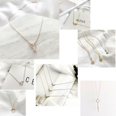 Women's S925 Silver Chain Crystal Zirconia Pendant Necklace Jewelry Gift +Box