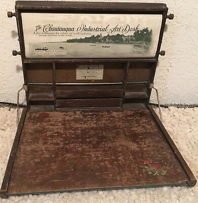 Antique 1913 Chautauqua Industrial Art Desk By Lewis E Myers