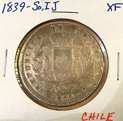 1839-So, IJ CHILE SILVER 8 REALES EF XF Condor Breaking Chain coin
