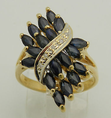 Vintage Estate Yellow Gold Diamond and Blue Sapphire Cocktail Ring Size 5