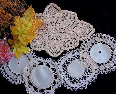 5 Antique Tea-Dyed Doilies Handmade Bedfordshire, Cluny & Crochet Lace Scottish