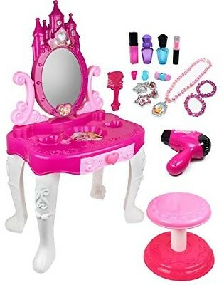 Girl Vanity Set Furniture Table Chair Child Toy Toddler Little Princess 14 Piece