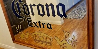 Corona Extra Beer Bar Mirror Sign Wood Framed Authentic HUGE 54X33 Billiard Pub