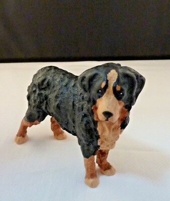 "Hand Painted ""Swiss Made"" Bernese Mountain Dog Figurine - Wood, Cast?  XLNT!"