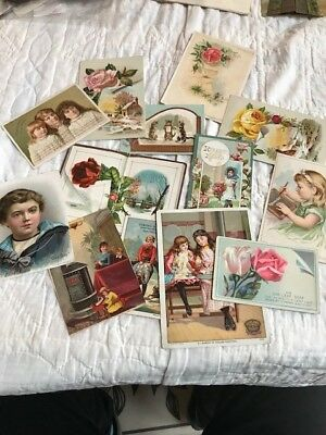 lot of 13 Victorian era trade cards - Our Boy, Garland Stoves and Ranges etc.