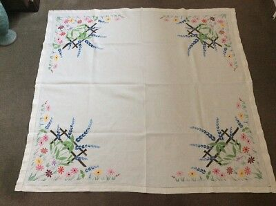 "Vintage Embroidered Table Cloth - Approx 46"" Square."