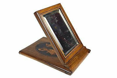 Antique Inlaid Olive Wood Folding Travel Mirror, Sorrento, Italy.