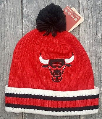 Chicago Bulls Mitchell & Ness Nba Sport Knit Pom Beanie Cap Hat Ke31Z