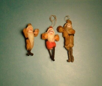 Vintage Cotton Batting Santa Clay Face Ornaments Lot of 3