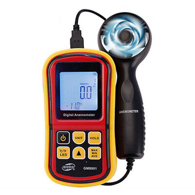 DIGITAL HANDHELD ANEMOMETER Wind Speed Meter Thermometer Sailing LCD Backlit