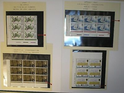 Four examples of noted varieties/errors presented on margin blocks all mint nh.