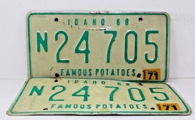 1968 IDAHO License Plate Collectible Antique Vintage Matching Pair Set 1972