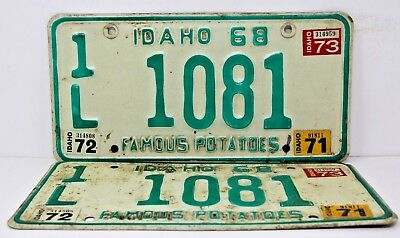 1968 IDAHO License Plate Collectible Antique Vintage Matching Pair Set 71 72 73