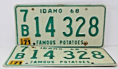 1968 IDAHO License Plate Collectible Antique Vintage Matching Pair Set 1971