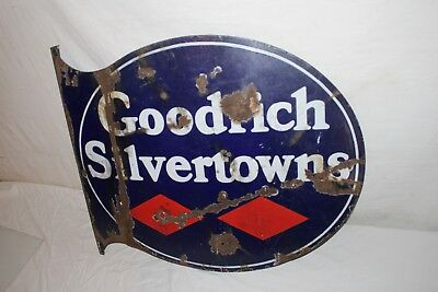 "Vintage 1930's Goodrich Silvertowns Tires Gas Oil 2 Sided 23"" Metal Flange Sign"
