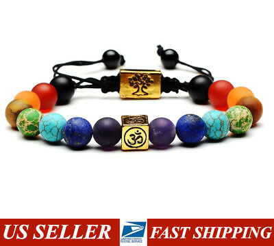 7 Chakra Bracelet + Om & Tree of Life Adjustable Natural Gemstones ❤ Handmade