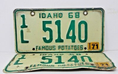 1968 IDAHO License Plate Collectible Vintage Muscle Car Matching Pair Set 1971